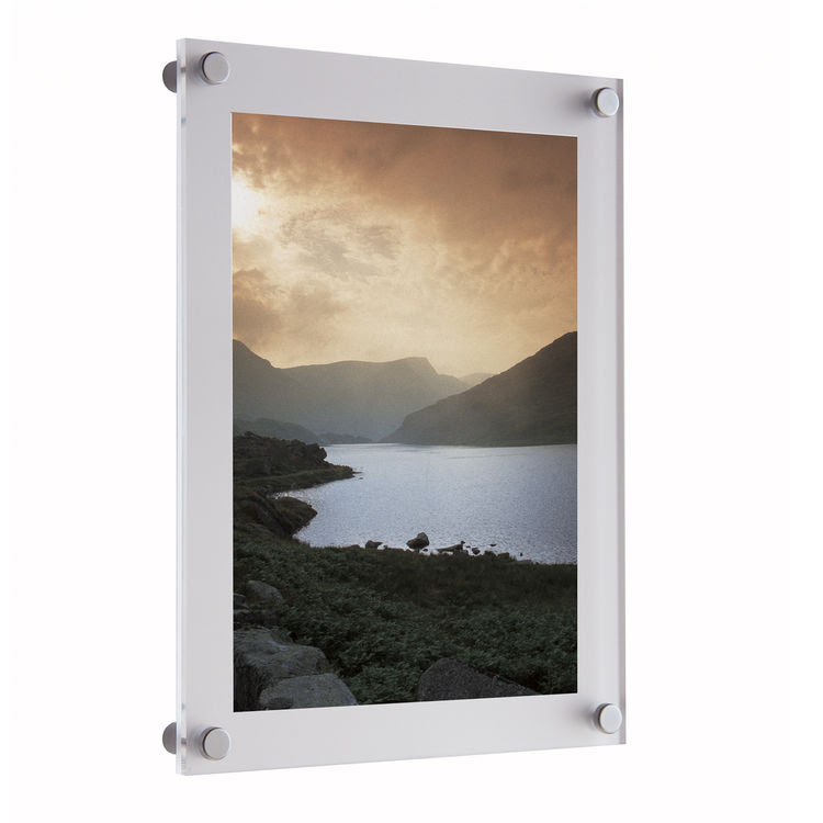 Wall Mounted White Acrylic Photo Frame With Frosted Back Panel