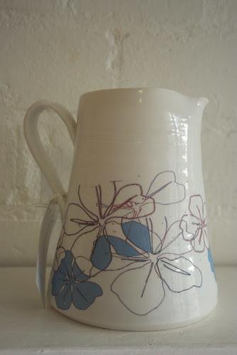 Printed porcelain milk jug by potteryrachel