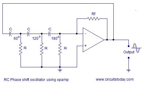 phase shift oscillator using opamp