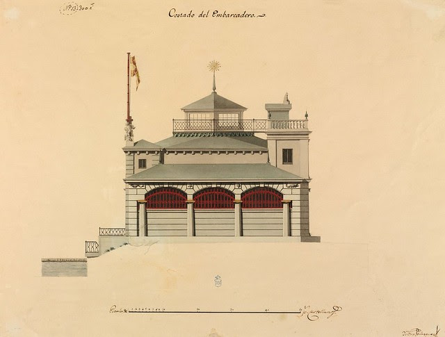 view of 18th c. building plan