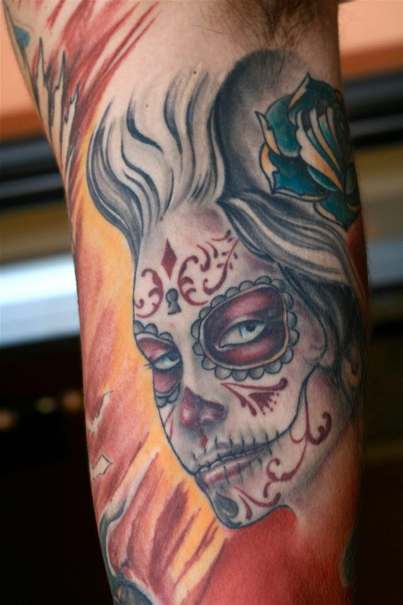Dia De Los Muertos Girl Face Tattoo Design Tattoos Book 65000