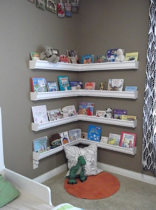 Buy plastic rain gutters from Home Depot and you have a reading corner; absolutley LOVE!