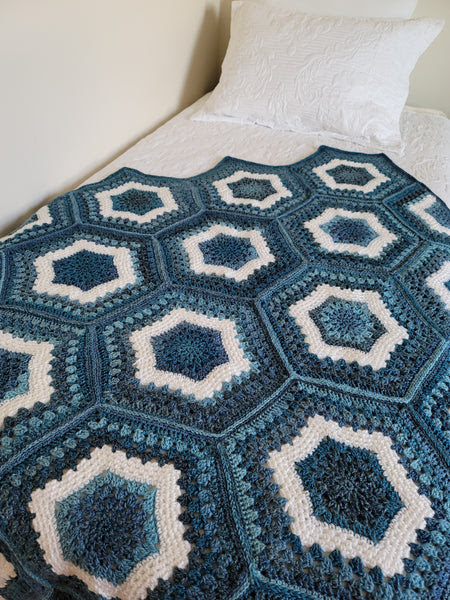 Crochet Kit - Sea Glass Hexagon Afghan