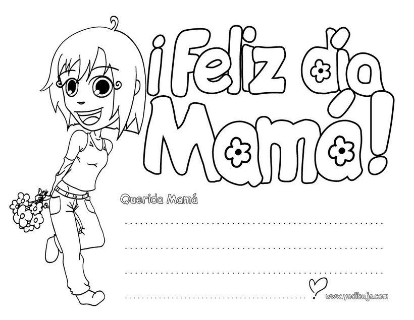 Dibujos Para Colorear Dia De La Madre Cartel Niña Eshellokidscom
