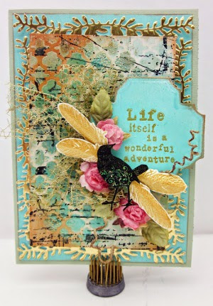 Branching Out Flowers and Feathers Mixed Media Card