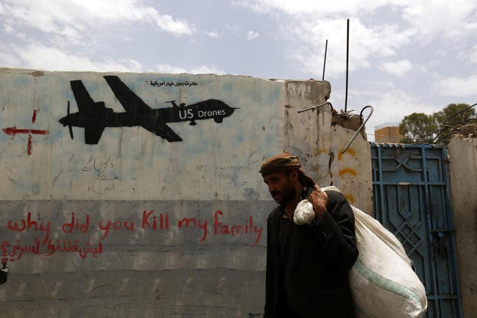 Graffiti showing a US drone marked a wall in Sanaa, Yemen. Nasir al-Wuhayshi had led the local Al Qaeda affiliate since 2002.