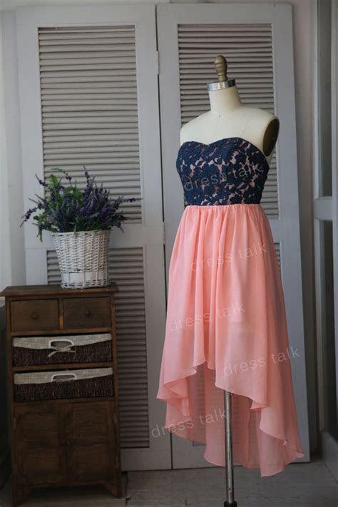 Navy Blue Lace Coral Chiffon Hi Low Bridesmaid Dress/Prom