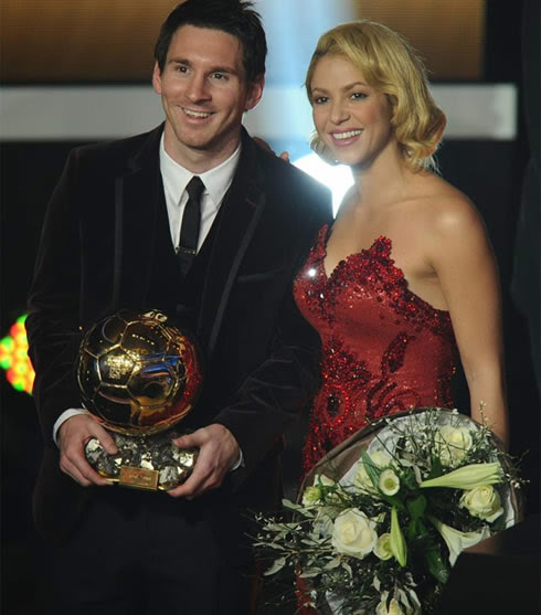 Lionel Messi and Shakira taking a photo at FIFA Balon d'Or 2011-2012 gala and ceremony