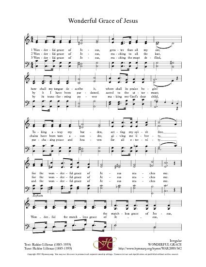 Wonderful Grace Of Jesus Lyrics Hymn