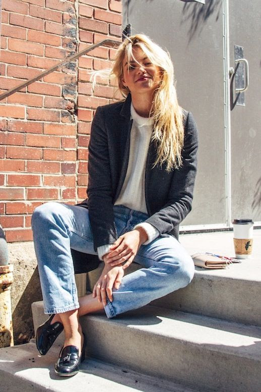 Le Fashion Blog Fall Style Blonde Hair Charcoal Grey Coat Cream Sweater Vintage Jeans Black Loafers Via BLDG 25