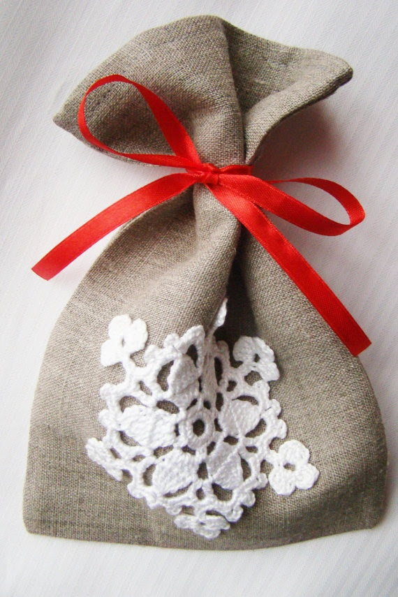 Linen gift wrap with crocheted snowflake