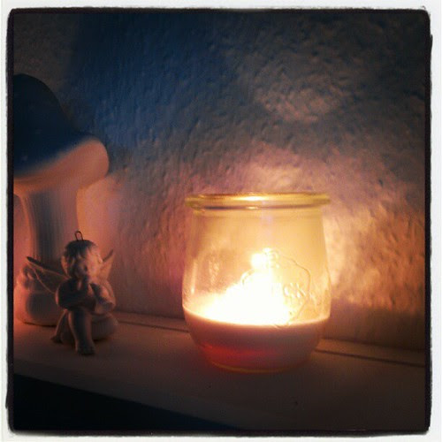 Day 7: light, outside autumn finally won, it's raining and cold and dark, inside candles are burning #FMSphotoaday #photoaday #picoftheday #candles #light #fairies