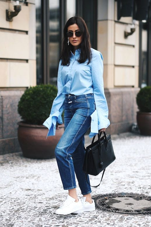 Le Fashion Blog Blogger Style Sunglasses Blue Button Down Shirt With Long Sleeve Detail High Waisted Jeans Saint Laurent Tote Bag Casual White Sneakers Via Sylvia Haghjoo