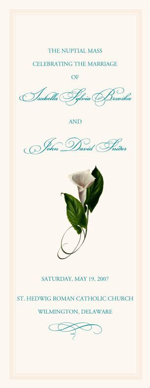 Calla Lily Wedding Program Examples Wedding Program