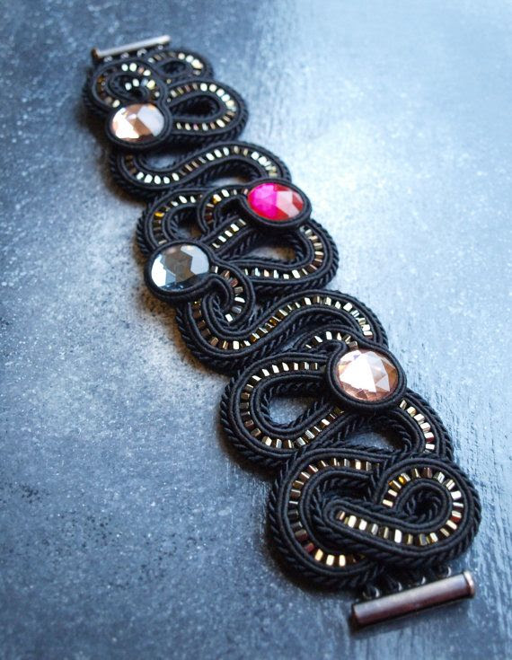 Soutache cuff bracelet with crystals. £30.00, via Etsy.