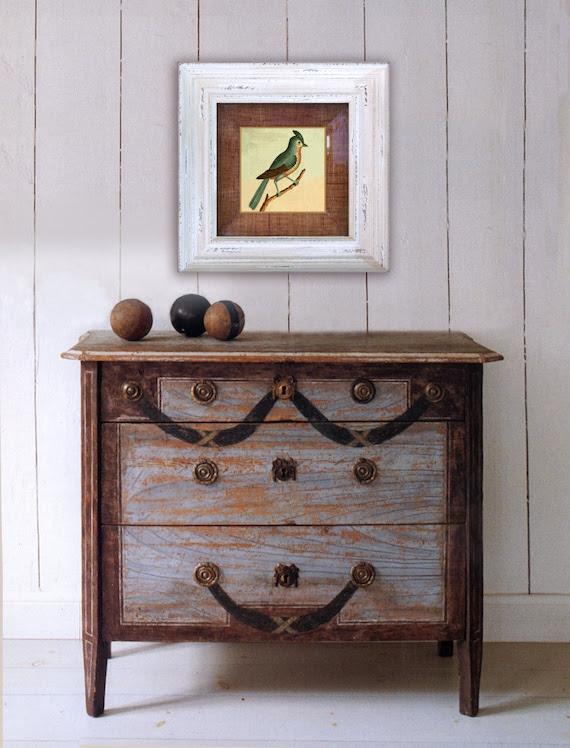 Bird Wall Art / Fall Decor / Bird Print / Decorative Arts / Bird Painting / Decoupage Plate Wall Hanging / mint teal decor shabby chic