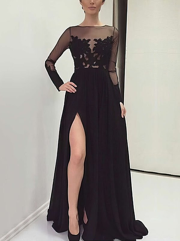 http://uk.millybridal.org/product/unique-a-line-scoop-neck-chiffon-tulle-appliques-lace-sweep-train-black-long-sleeve-prom-dresses-ukm020103633-19972.html