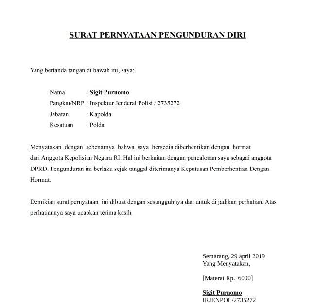 Contoh Surat Pengunduran Diri Dari Organisasi Club Motor Dapatkan Contoh