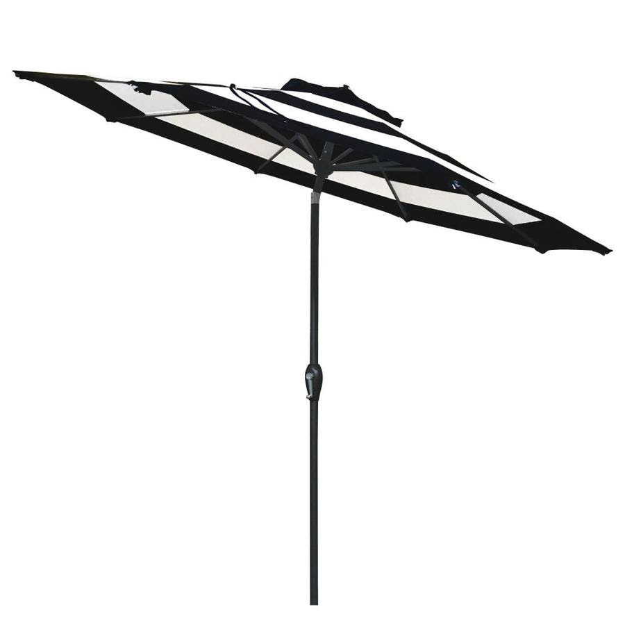 Allen Roth 9 Ft Octagon Black And White Stripe With Brown Steel Frame Auto Tilt Market Patio Umbrella In The Patio Umbrellas Department At Lowes Com