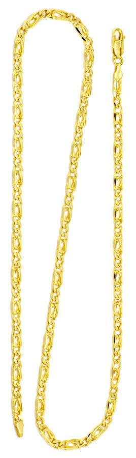 Foto 3, Figaro Flachpanzer Goldkette massiv 18K Gelbgold Luxus!, K2187