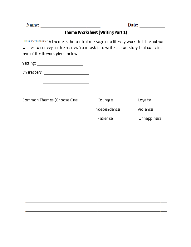 12 Best Images of Worksheets Finding The Theme  Reading Theme Worksheets, Theme Worksheets 3rd
