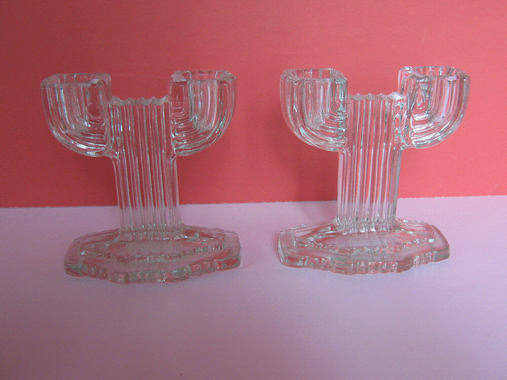 PAIR GORGEOUS ART DECO STYLE CLEAR GLASS DOUBLE ...