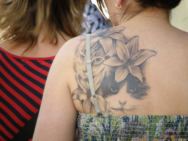 Lady with Cat Tattoo