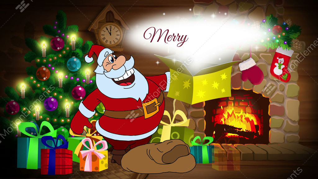 Merry Christmas Animated Card With Santa Claus Stock Animation 9538446