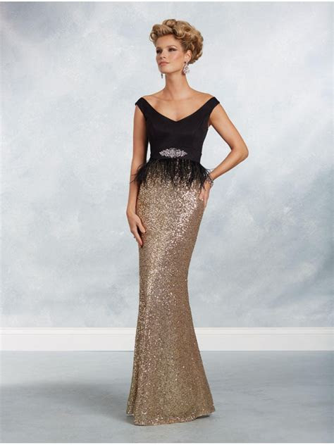 Mermaid Gold Sequins Black Off the Shoulder Mother of The