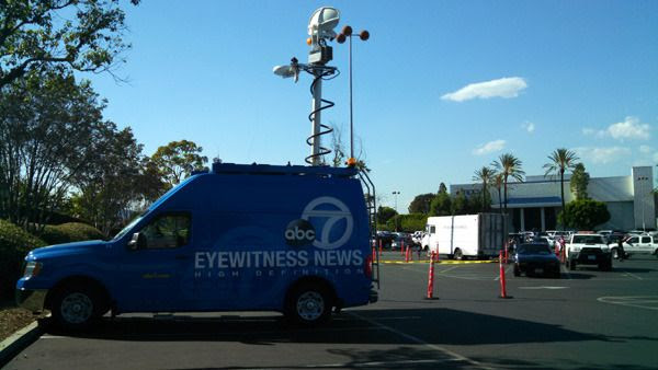 A news van from ABC TV's 'Eyewitness News' on hand to cover 'BACK TO THE FUTURE' DAY festivities at Puente Hills Mall in the City of Industry...on October 21, 2015.