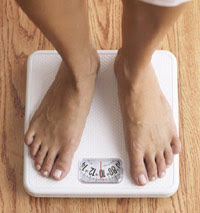 photo of feet on scale