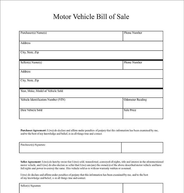 Motor Vehicle Bill Of Sale >> Free Printable Motor Vehicle Bill Of Sale Venlaway