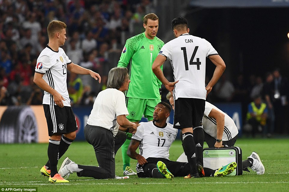 Germany suffered a major blow when Jerome Boateng sustained a hamstring injury and had to be replaced in the second half