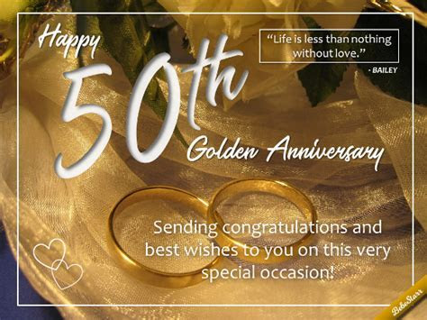For A 50th Wedding Anniversary. Free Milestones eCards