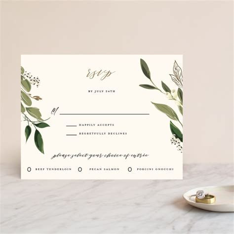 Greenery Crown Foil Pressed RSVP Cards by Susan Moyal   Minted