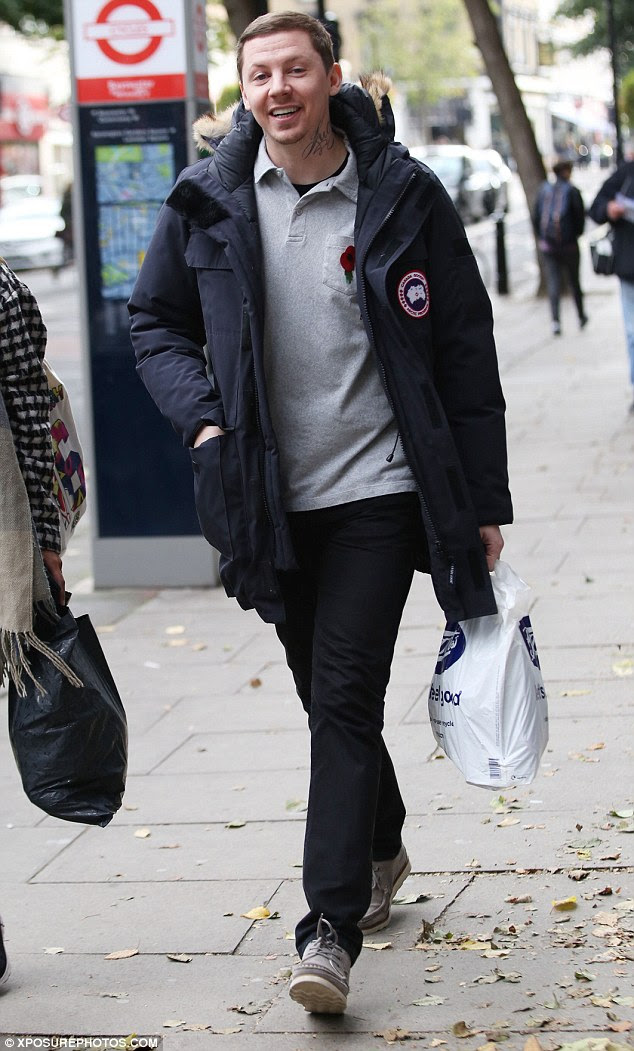 Sprightly:Professor Green was then seen out and about in London hours after the reports emerged on Sunday morning