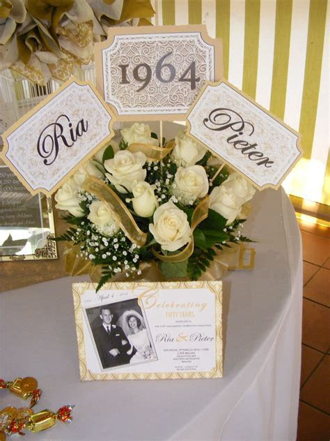 flowers and invitation for 50th anniversary   50th