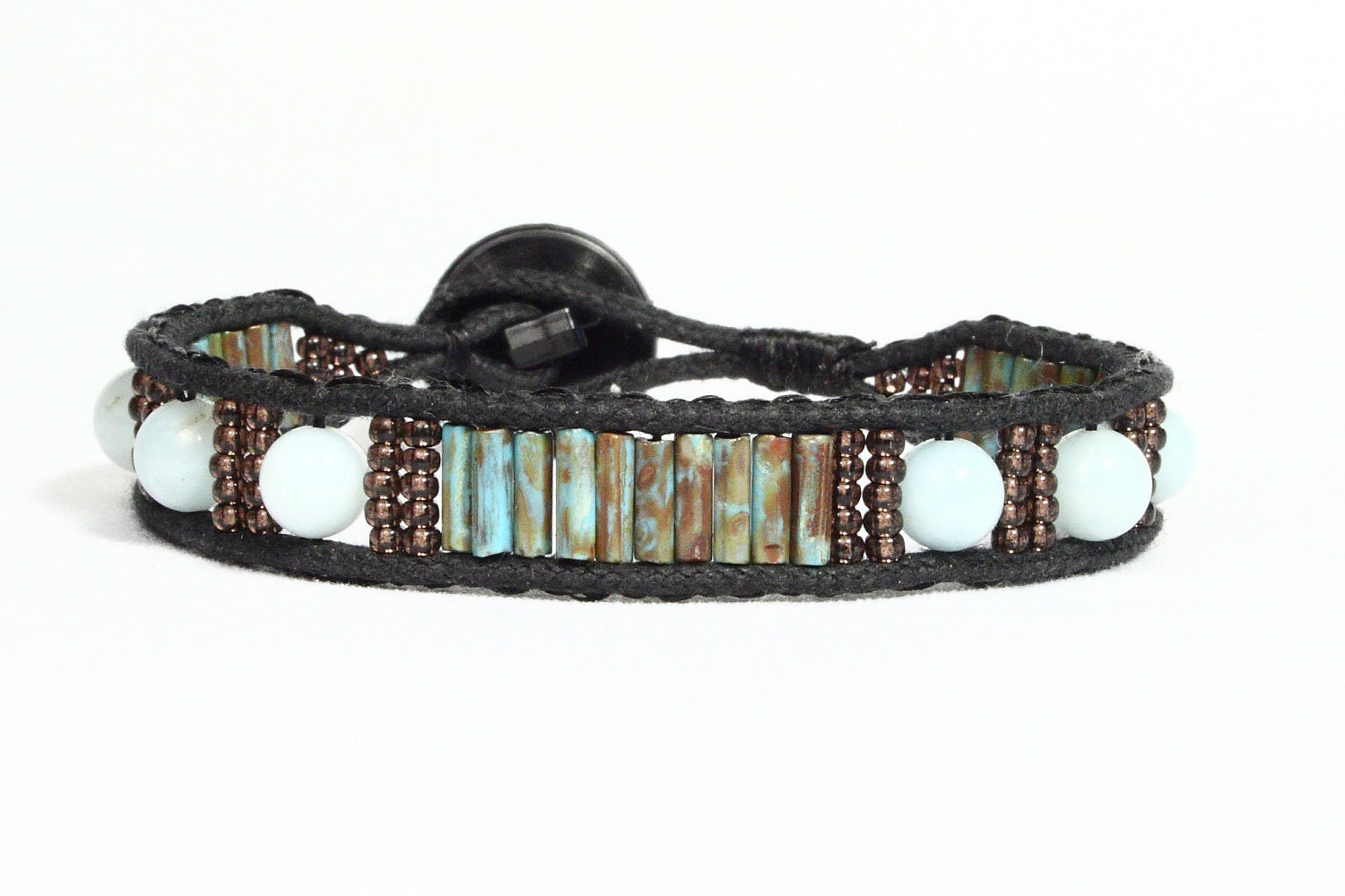 Single wrap cuff bracelet.  Amazonite gemstones, turquoise Czech bugles, copper seed beads.  Black button.  Hipster.