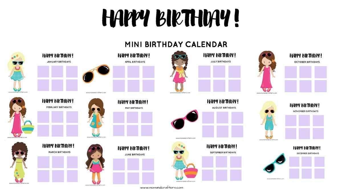 Tween Birthday Calendar MomAndCraftersw