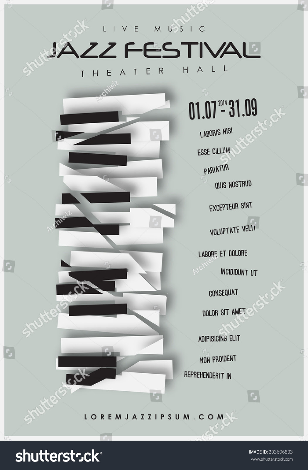 Jazz Music Festival, Poster Background Template. Editable Layered ...