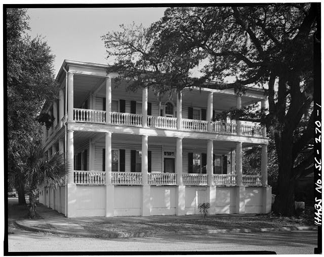 1.  GENERAL VIEW; SOUTH (FRONT) ELEVATION . The portico is not original - Thomas Rhett House, 1009 Craven Street, Beaufort, Beaufort County, SC