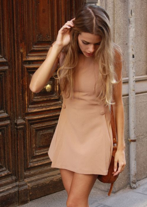 Nude fitted sheath dress