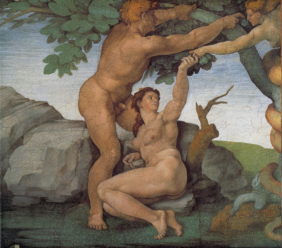 The Temptation and Fall of Adam and Eve by Michelangelo