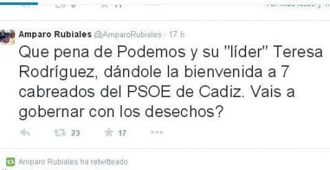 Captura de pantalla de la cuenta de Twitter de Amparo Rubiales.