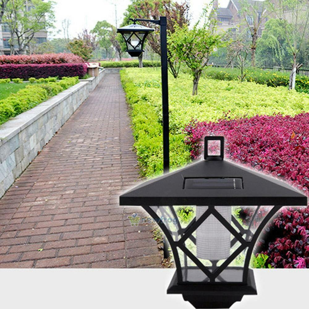 Black LED Solar Powered 5 ft Traditional Garden Lamp Post Lamppost Lantern Light  eBay