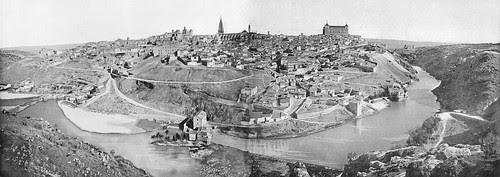 Vista panorámica de Toledo hacia 1880. Fotografía de Levy montada por cortesía de José María Moreno