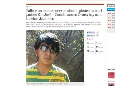Garoto boliviano de 14 anos é atingido por rojão e morre em jogo do Corinthains