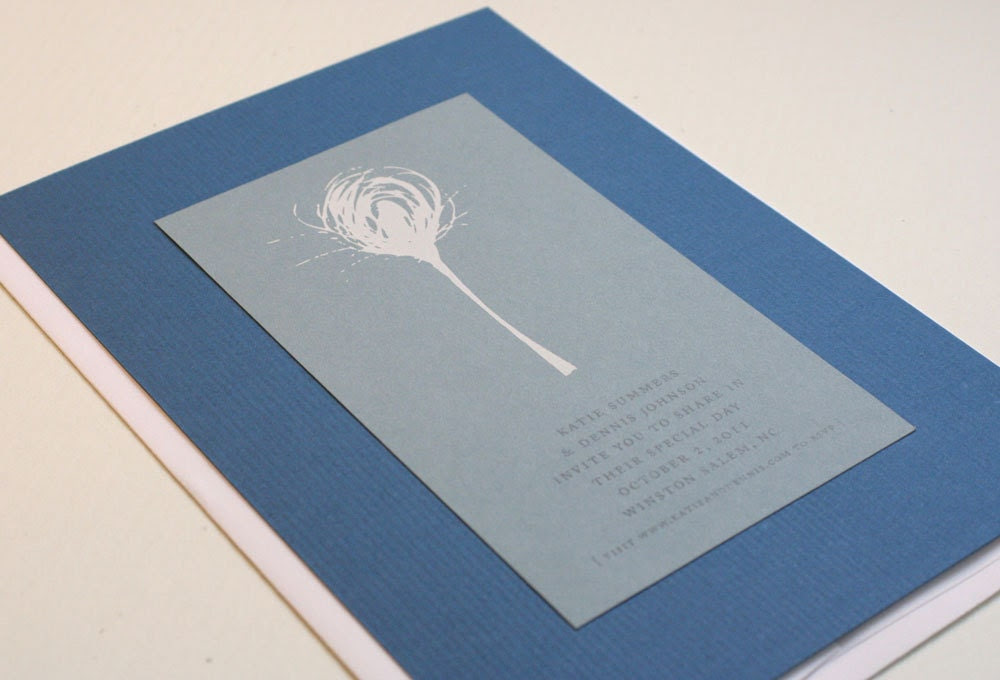 Nature motif screen-printed blue and white wedding Invitation