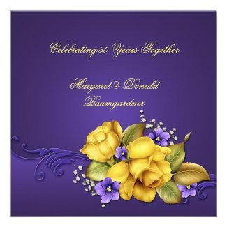Yellow Roses Purple Violets 50th Anniversary
