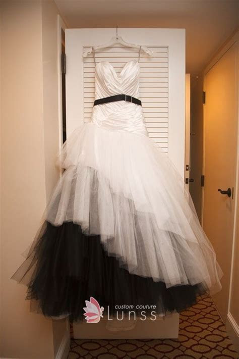 Black and White Satin and Tulle Halloween Theme Wedding